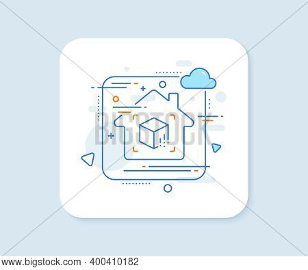 Augmented Reality Line Icon. Abstract Vector Button. Vr Simulation Sign. 3d Cube Symbol. Augmented R