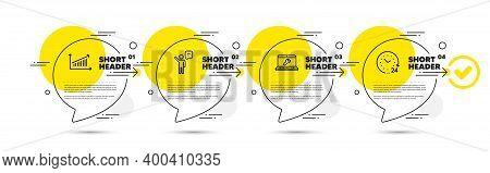 Chart, Agent And Laptop Repair Line Icons Set. Timeline Infograph Speech Bubbles. 24 Hours Sign. Pre