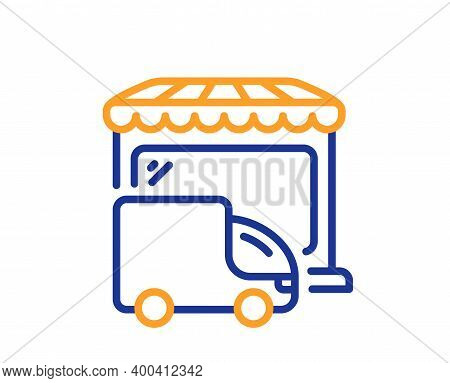 Delivery Market Line Icon. Store Transport Sign. Retail Marketplace Symbol. Quality Design Element.
