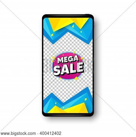 Mega Sale Bubble. Phone Mockup Vector Banner. Discount Banner Shape. Coupon Sticker Icon. Social Sto