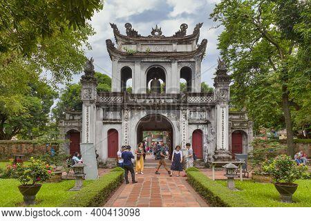 Hanoi, Vietnam - August 18 2018: Gate Of The Confucius Temple Of Literature Hosting The Imperial Aca