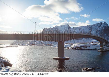 Bridge Against A Beautiful Norwegian Landscape