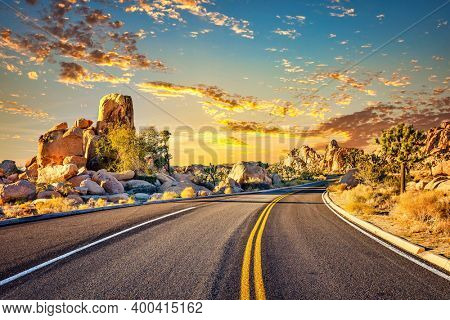 Highway in Joshua Tree National Park, Mojave Desert, California
