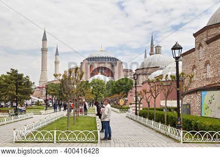 Istanbul, Turkey - May 09 2019: The Hagia Sophia Is The Former Greek Orthodox Christian Patriarchal