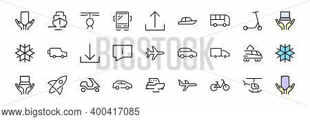 Set Of Public Transport Related Vector Line Icons. Contains Icons Such As Bus, Bike, Suitcase, Car,