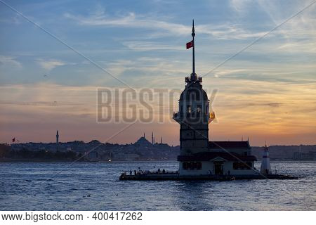 Istanbul, Turkey - May 12 2019: The Maiden's Tower, Also Known As Leander's Tower Since The Medieval