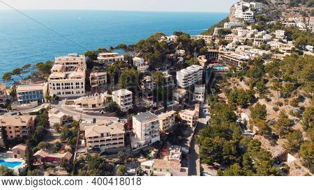 Marina And Beach At Bay Seaside Of Port De Soller On Mallorca, Panoramic Aerial View. High Quality P