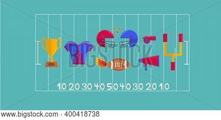 Super Bowl Vector Set. Sport Games Celebration, American Football Concept. Helmet, Whistle, Cup,, Me