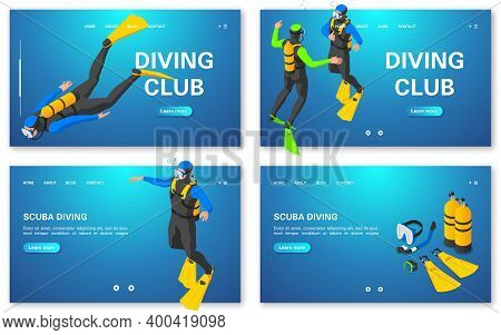 Scuba Diving Concept Banners Set. Diving Training. Diving Club.