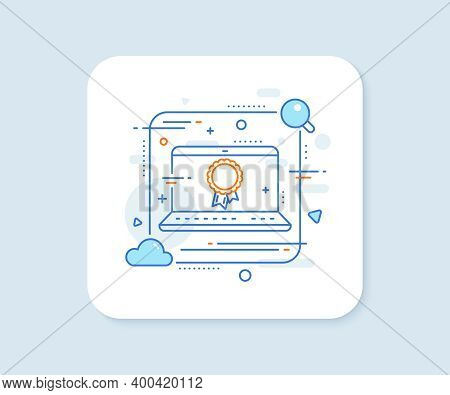 Success Line Icon. Abstract Vector Button. Winner Medal Sign. Award Reward Symbol. Glory Or Honor. S