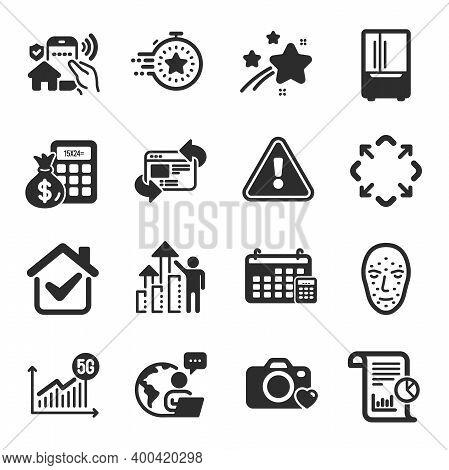 Set Of Technology Icons, Such As 5g Statistics, Calendar, Maximize Symbols. Refresh Website, Finance