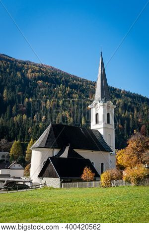 Feld Am See In Carinthia. Idyllic Protestant Church In The South Of Austria.