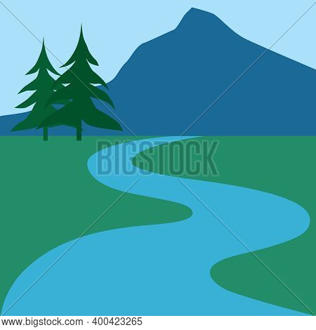 A Creek Is Winding Through A Scenic Countryside With Mountains And Trees