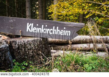 Signpost To The Famous Village Kleinkirchheim In Carinthia, Austria. Natural And Traditional Way To