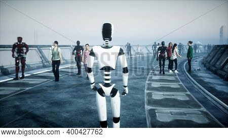 Robot In Sci Fi Tonnel. Concept Of Future.. 3d Rendering..3d Rendering.