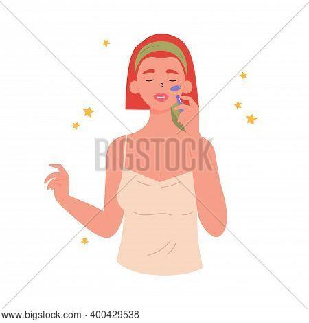 Facial Gua Sha Massage. Woman With Facial Jade Roller. Facial Yoga. Young Woman Massaging Her Face.