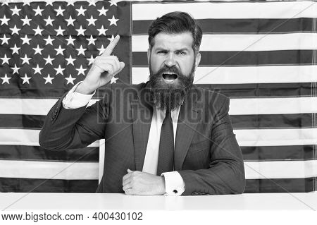 Elections And Debates. Every Vote Matters. National Holidays. Celebration Of Victory. Bearded Hipste