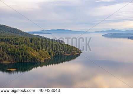 Scenic view of the ocean and shoreline at Maple Bay in Vancouver Island, British Columbia