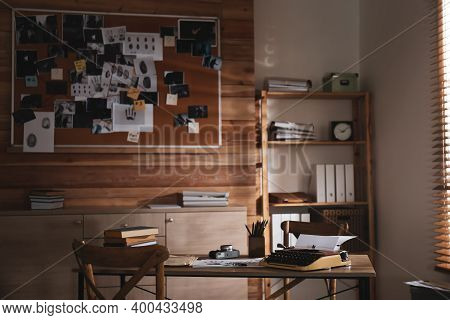 Detective Office Interior With Evidence Board On Wall