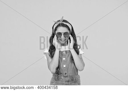 Little Fashionable Girl Summer Outfit With Sunglasses, Cute Fashionista Concept.