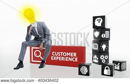 Customer Experience Inscription, Social Networking Concept. Business, Technology, Internet And Netwo