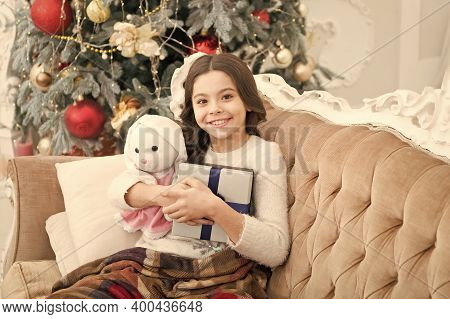 Boxing Day. Open Gift. Winter Wonderland. Adorable Girl Play With Toy In Christmas Eve. Present Conc