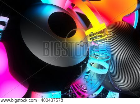 3d Render Of Abstract Art 3d Background With Surreal Flying Meta Balls Spheres Bubbles Or Festive Pa