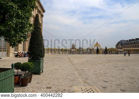 Versailles, France - June 08, 2013: People On The Square In Front Of The Palace Of Versailles