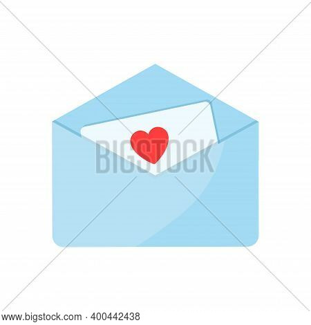 An Open Envelope With A Love Letter Inside. Valentines Day Concept, Vector Flat Illustration. Elemen