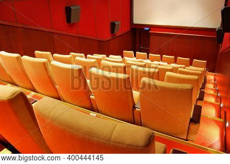 Modern Cinema Hall Empty And Beige Comfortable Seats, Movie Theater Seats Or Chair, White Cinema Scr