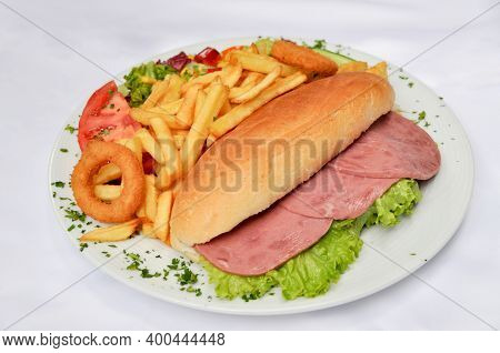 Homemade And Delicious Looking Salami Sandwich And Fried Potatoes, Worthy Of A Full Mouth, Homemade