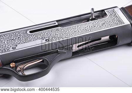 Shotgun Trigger Mechanism Isolated On White Background, Hunting Shotgun Detail