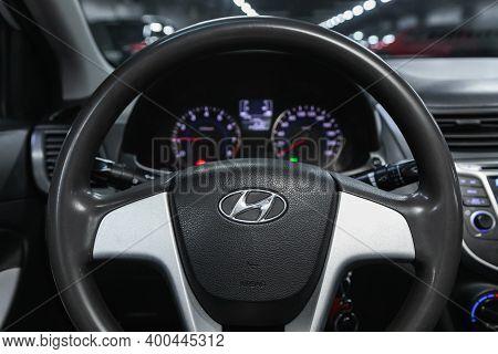 Novosibirsk, Russia - December 12, 2020:  Hyundai Solaris, Salon Of A New Stylish Car, Steering Whee