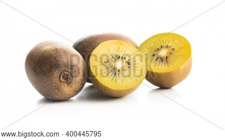 Ripe yellow kiwi fruit isolated on a white background. Halved kiwi fruit.