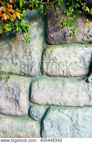 Wall Of Stone Bricks. Background And Texture Of Cobblestones.
