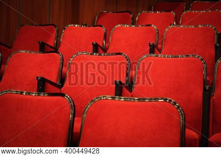Modern Cinema Hall Empty And Red Comfortable Seats, Movie Theater Seats Or Chair