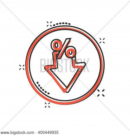 Decline Arrow Icon In Comic Style. Decrease Cartoon Vector Illustration On White Isolated Background