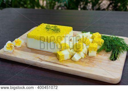 General Side View, Vegetarian And Vegan Egg, Milk And Agar Agar, Tofu Yolk And Black Salt With Turme