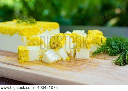 Close Up Side View, Vegetarian And Vegan Egg, Milk And Agar Agar, Tofu Yolk And Black Salt With Turm