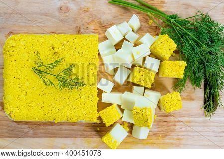 Top View, Vegetarian And Vegan Egg, Milk And Agar Agar, Tofu Yolk And Black Salt With Turmeric, Egg