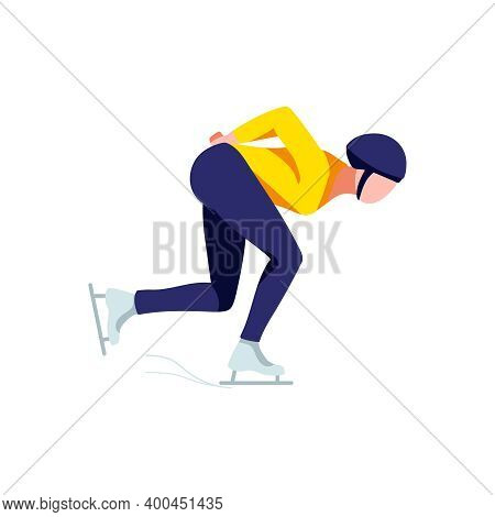 Short Track Speed Skater. Short Track Speed Skater, Athlete Character In Sports Uniform Running On I