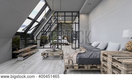 Modern design scandinavian attic loft with wooden furniture. 3d Rendering