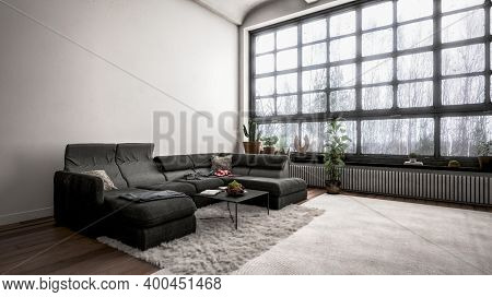 Modern design room interior with black couch in front of white wall. 3d Rendering