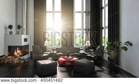 Modern black and white scandinavian style living room interior with a fireplace and curtains. 3d Rendering