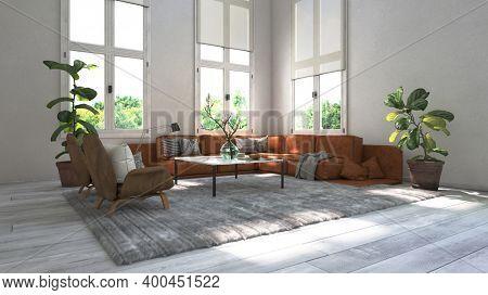 Modern design scandinavian loft style living room interior. 3d Rendering