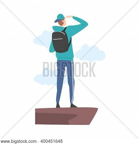 Standing At Cliff Male Looking Ahead As Into Bright Future Vector Illustration