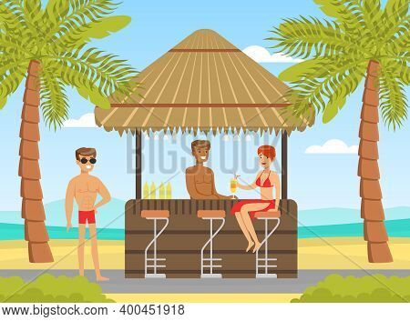 Woman In Beachwear And Man Drinking Cocktails At Tropical Bar Vector Illustration