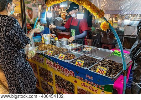 Phuket, Thailand - 17 December 2020 - Fried Edible Insects For Sale At Chillva Market, A Walking Str