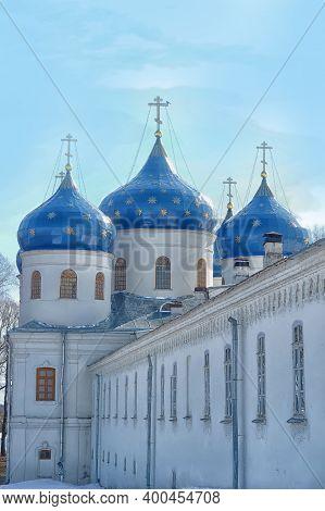 Dome St. George's Monastery In Veliky Novgorod, Orthodox Christian Church. The Orthodox Religion Of