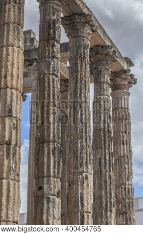 Temple Of Diana. Imperial Cult Temple In Merida, Extremadura, Spain